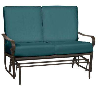 Oak Cliff Brown Steel Outdoor Patio Glider with CushionGuard Charleston Blue-Green Cushions