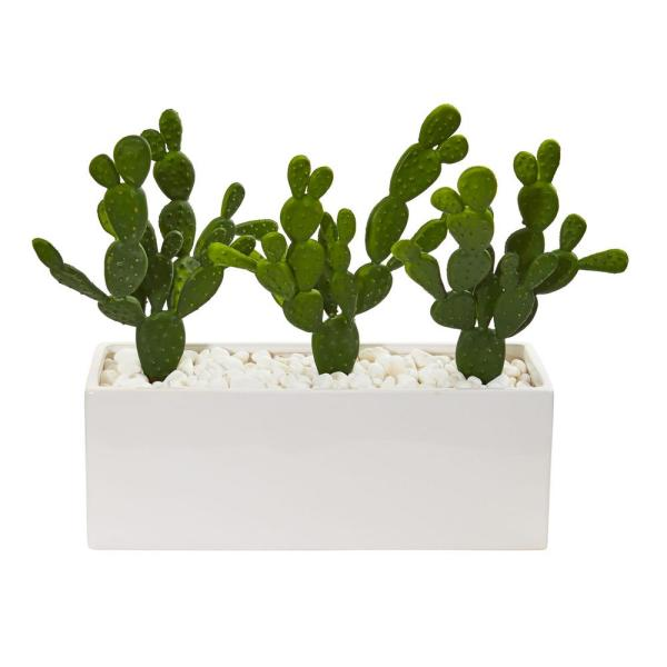Nearly Natural Indoor 11 Cactus Succulent Artificial Plant in Glazed White