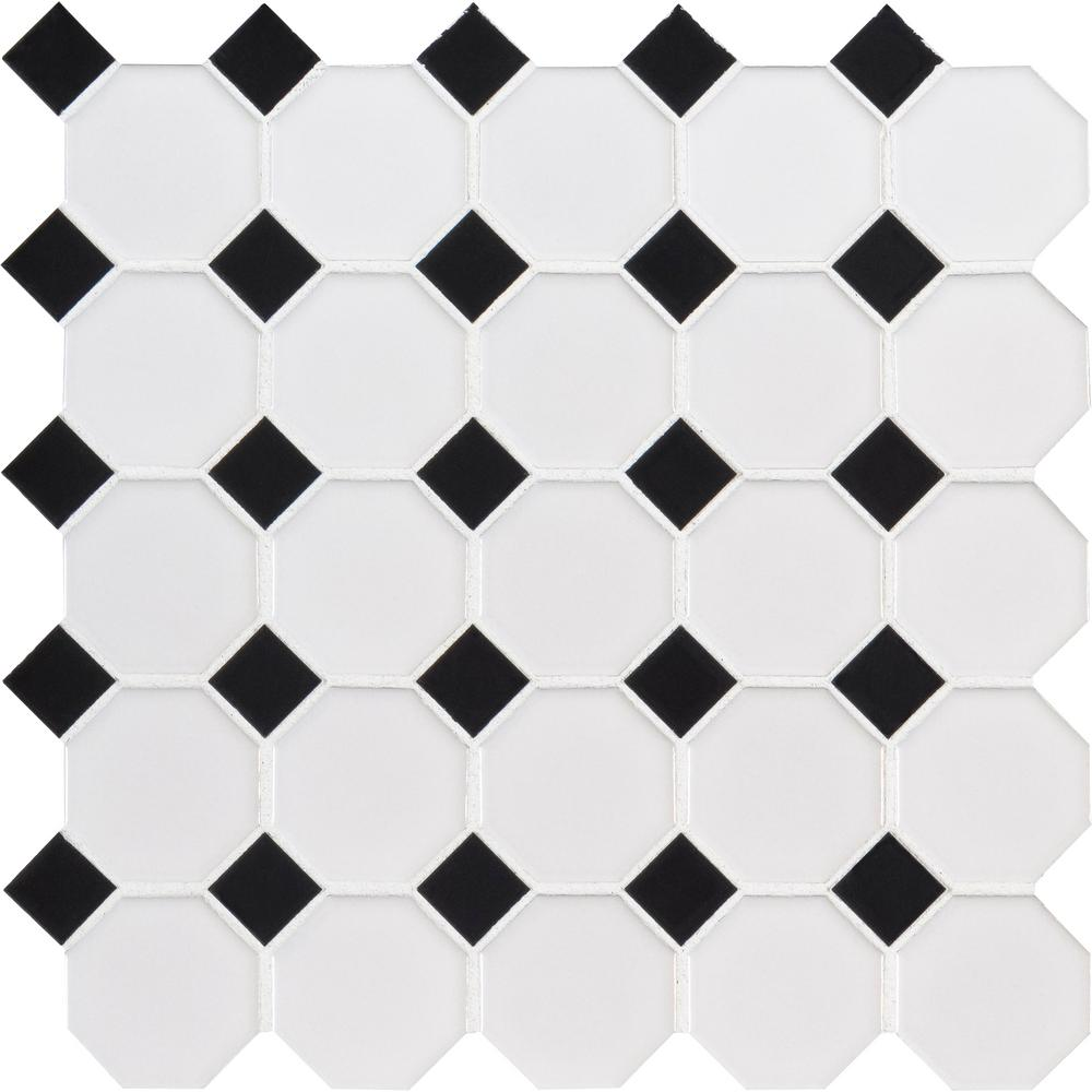 MSI Retro Bianco Octagon 11.61 in. x 11.61 in. x 6mm Glossy Porcelain Mesh-Mounted Mosaic Tile (0.94 sq. ft.)