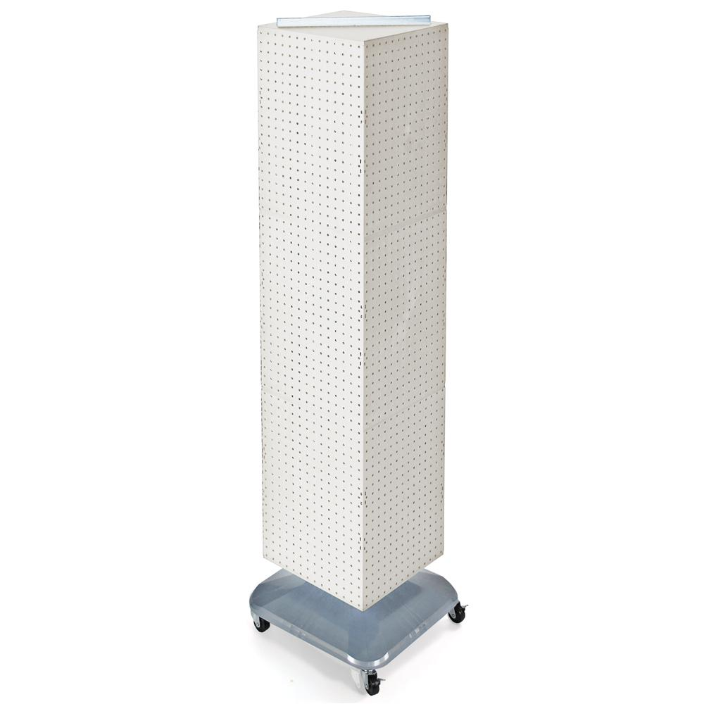 Azar Displays 64 in. H x 14 in. W Interlock Pegboard Tower on a Revolving Base with Wheels in White