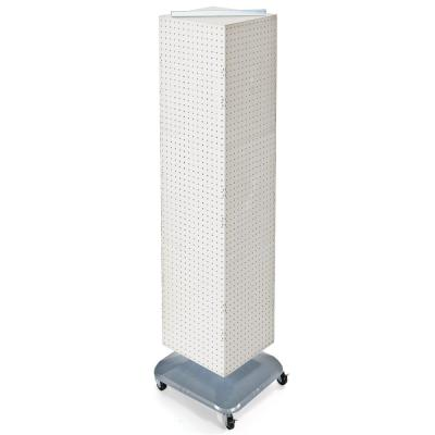 64 in. H x 14 in. W Interlock Pegboard Tower on a Revolving Base with Wheels in White
