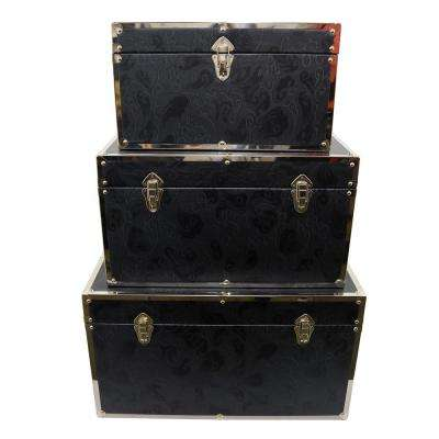 28 in. x 16 in. x 13 in. Navy Blue Nested Wood Trunks (Set of 3)