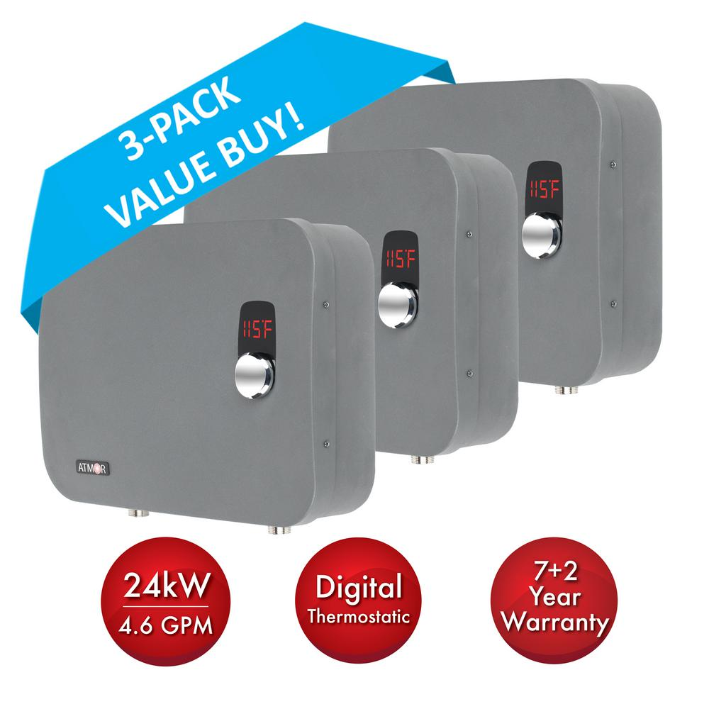 ATMOR ThermoPro 24 kW / 240V 4.6 GPM Stainless Steel Electric Tankless Water Heater with Self-Modulating Technology (3-Pack)