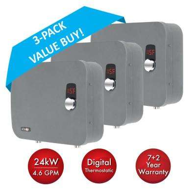 ThermoPro 24 kW / 240V 4.6 GPM Stainless Steel Electric Tankless Water Heater with Self-Modulating Technology (3-Pack)