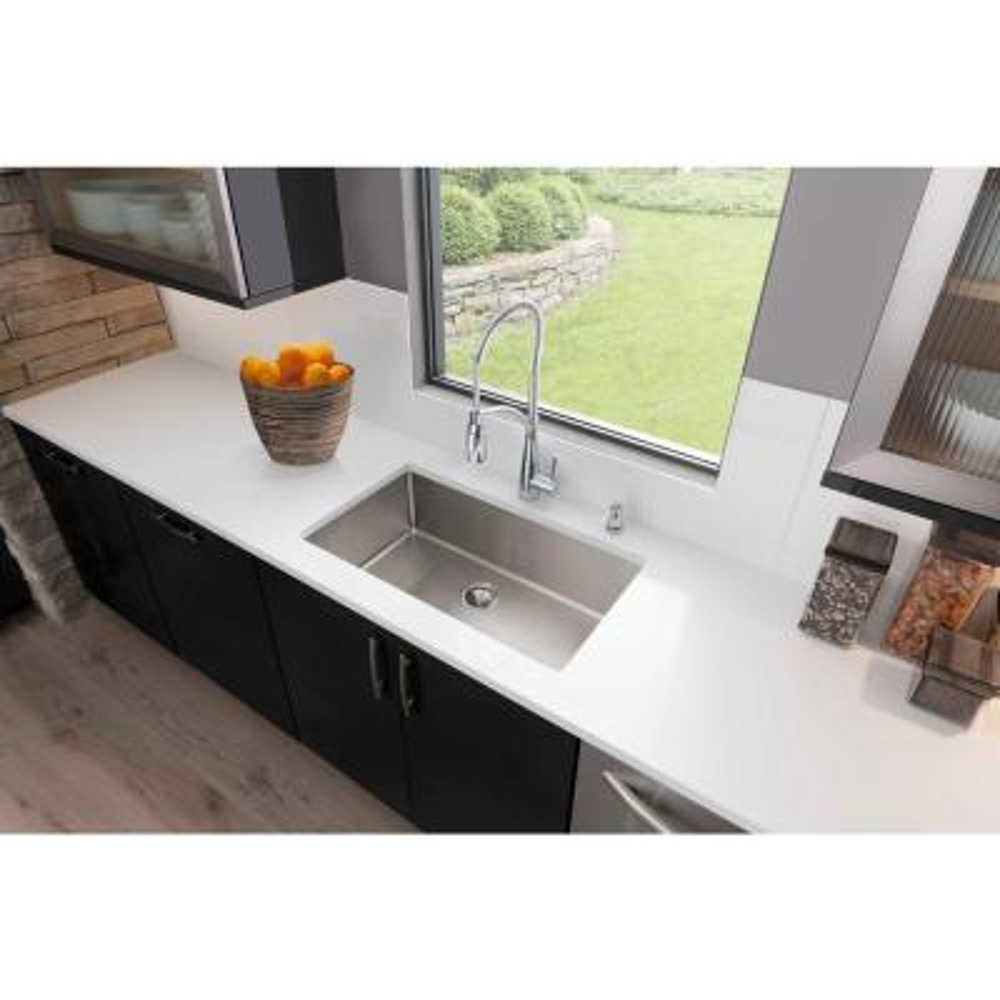 Crosstown Undermount Stainless Steel 32 in. Single Bowl Kitchen Sink with Center Drain