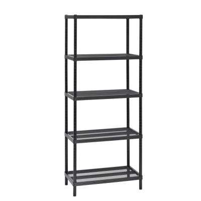 24 in. W x 59 in. H x 14 in. D 4-Tier Mesh Shelving Unit in Black