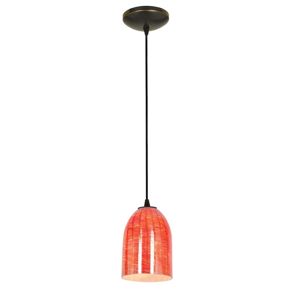Bordeaux 1 light oil rubbed bronze metal pendant with wicker red glass shade