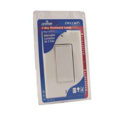 Decora 15 Amp Residential Grade Illuminated Rocker Switch with Wallplate, White