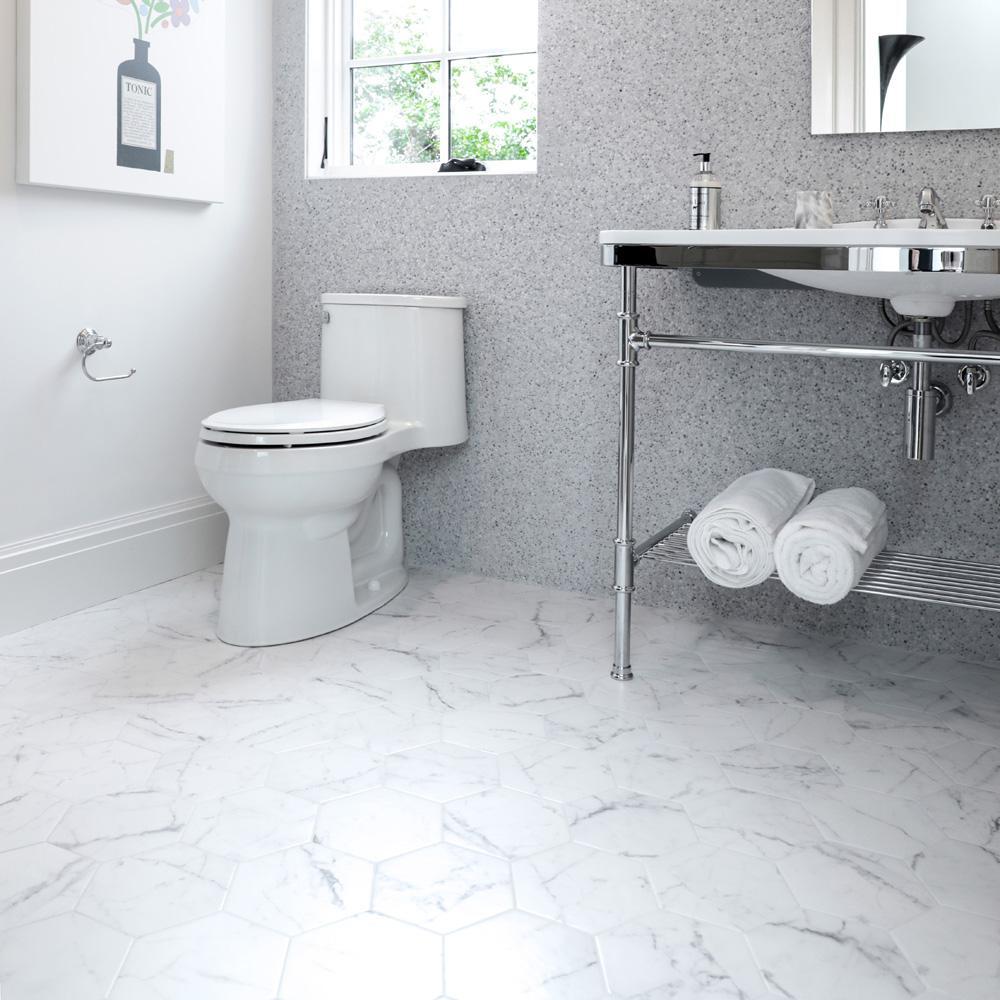 Merola Tile Clico Carrara Hexagon 7 In X 8 Porcelain Floor And Wall 67 Sq Ft Case