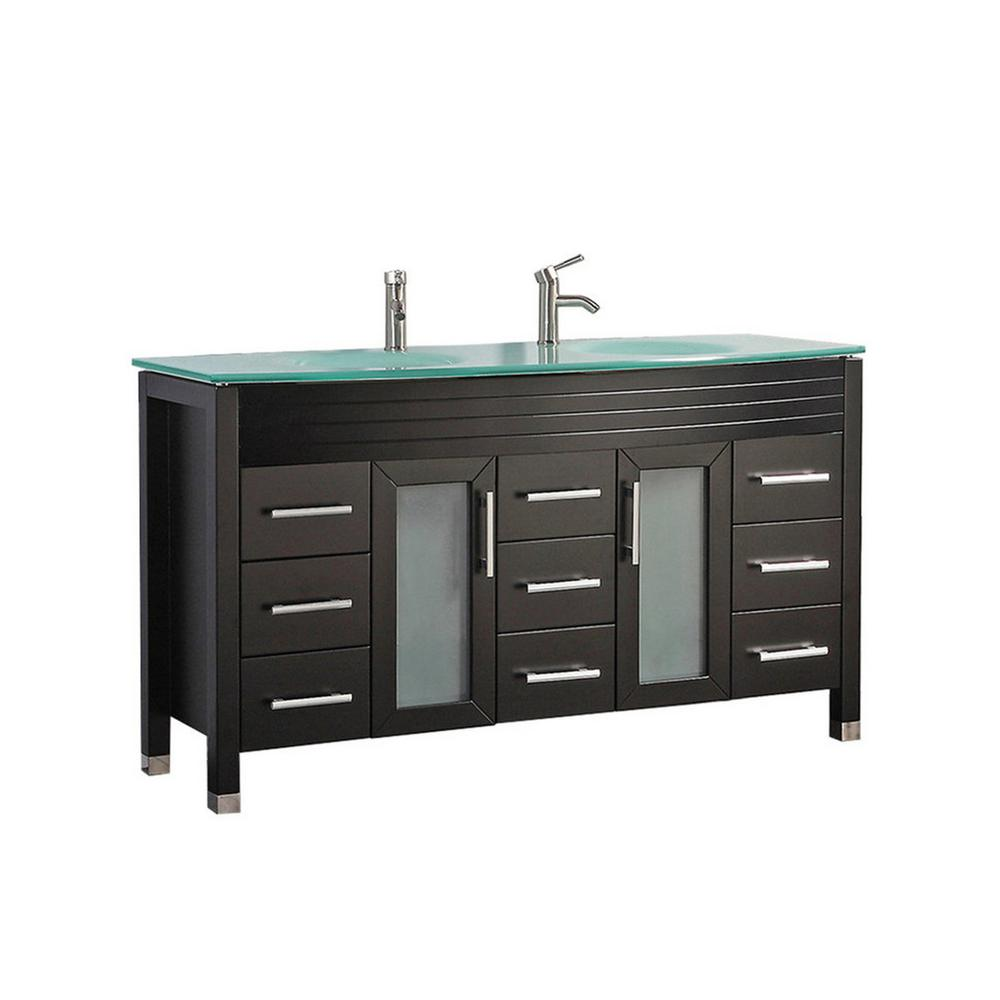 MTD Vanities Fort 71 in. W x 22 in. D x 36 in. H Double Bath Vanity in Espresso with Tempered Glass Vanity Top with Glass Basin