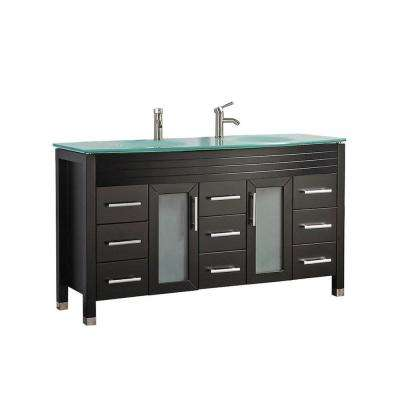 Fort 71 in. W x 22 in. D x 36 in. H Vanity in Espresso with Glass Vanity Top in Glass with Glass Basin