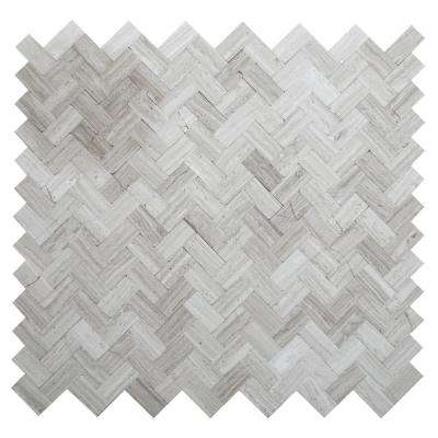Maidenhair Mixed Grays 12.09 in. x 11.65 in. x 5 mm Stone Self-Adhesive Wall Mosaic Tile