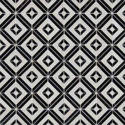 Rhombix Nero 12 in. x 12 in. x 10mm Polished Marble Mesh-Mounted Mosaic Tile (10 sq. ft. / case)
