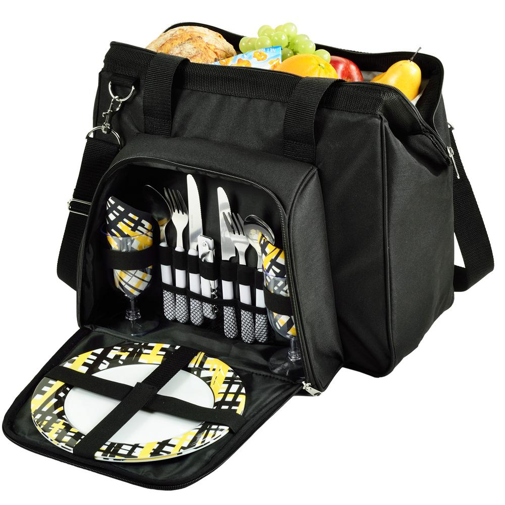 City Picnic Cooler Equipped for Two in Black