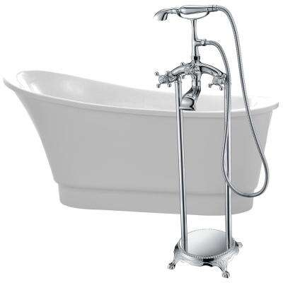 Prima 67 in. Acrylic Flatbottom Non-Whirlpool Bathtub in White with Tugela Faucet in Polished Chrome