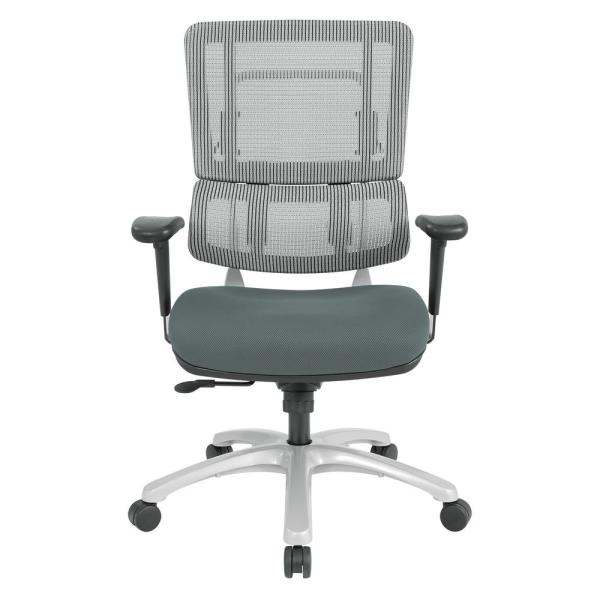 Vertical Grey Mesh Back Chair with Silver Base and Grey Seat
