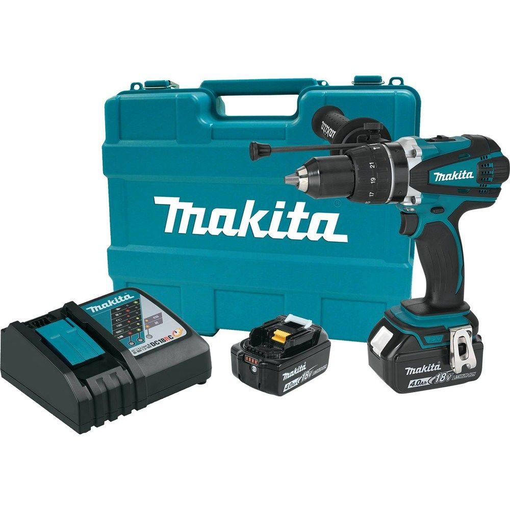 Makita 18-Volt LXT Lithium-Ion 1/2 in  Cordless Hammer Driver/Drill Kit  with (2) Batteries (4 0 Ah), Charger and Hard Case