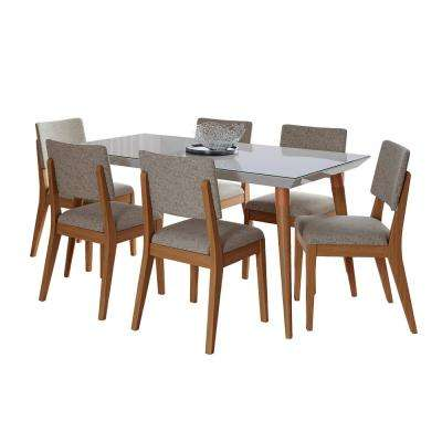 Utopia 62.99 in. and Dover 7-Piece Off-White and Grey Dining Set