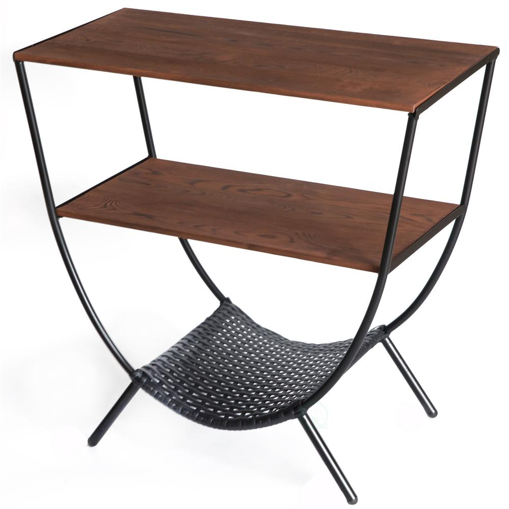 Wood and Metal Brown Console Table with 3-Shelves, Round Accent Table