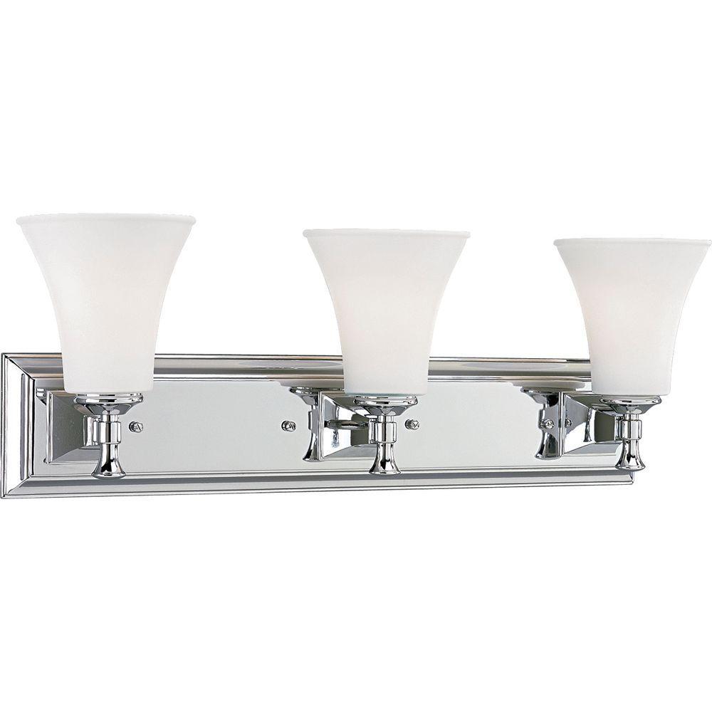 Fairfield Collection 3-Light Chrome Bathroom Vanity Light with Glass Shades