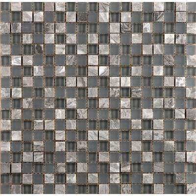 Lucente Concordia Gloss/Matte Mix 11.81 in. x 12.99 in. x 8mm Glass Mesh-Mounted Mosaic Tile