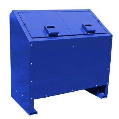 68 Gal. Metal Animal Proof Trash Can in Blue