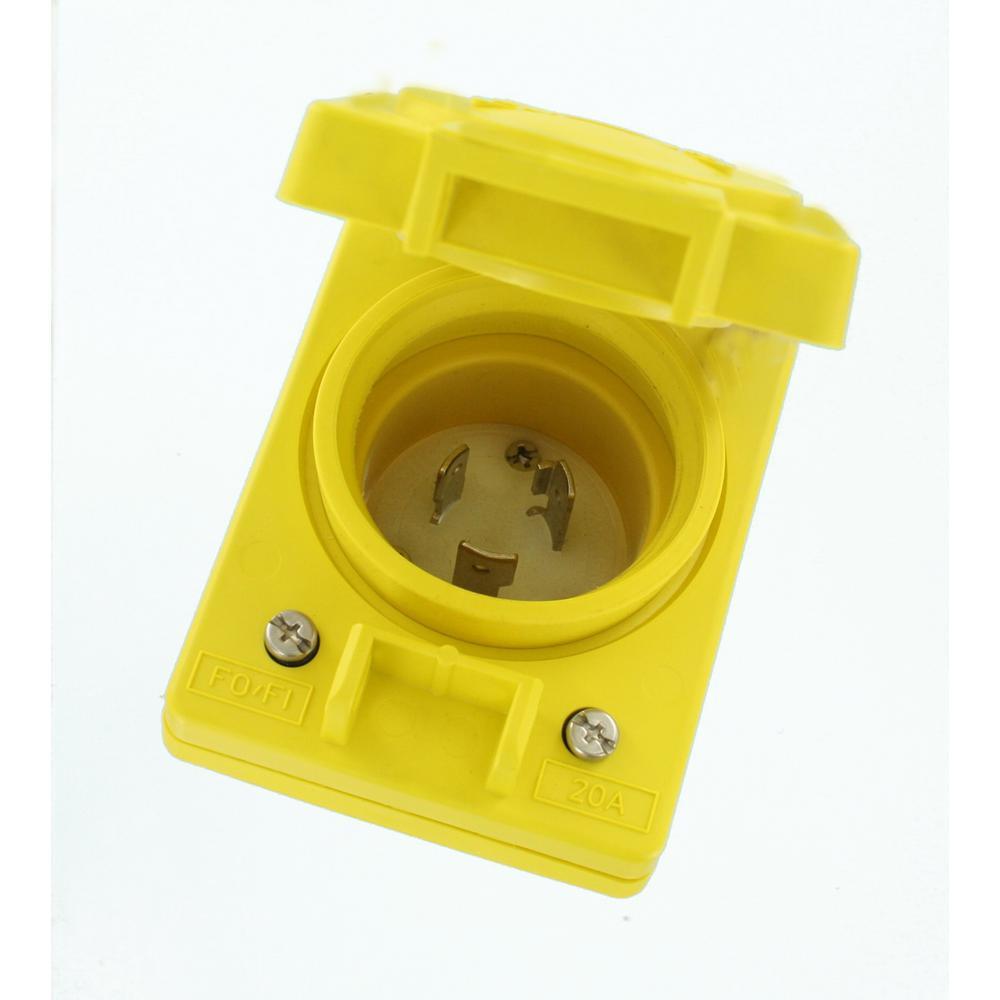 Leviton 20A 125-Volt Wetguard Single Locking Grounding Inlet Cover, Yellow
