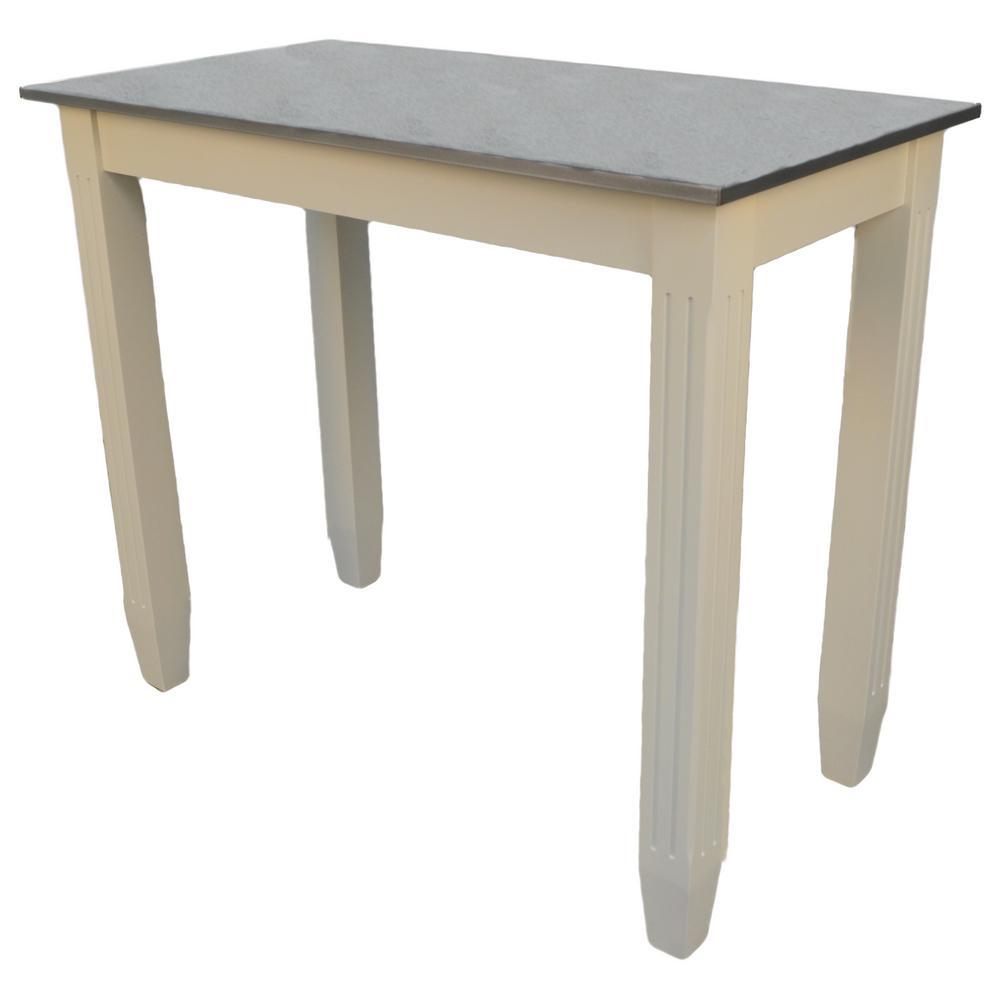 Esben Antique White Galvanized Top Counter Height Bar Table