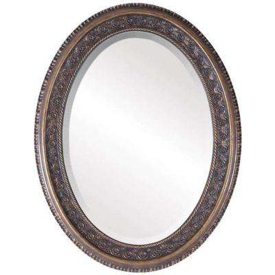 Southern Collection Pecan 26 in. x 33 in. Glazed Oval Framed Wall Mirror