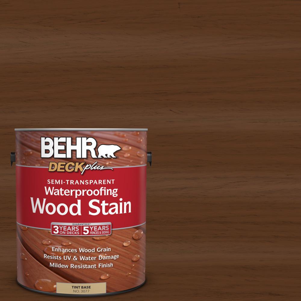 BEHR DECKplus 1 gal. #ST-129 Chocolate Semi-Transparent Waterproofing Wood Stain