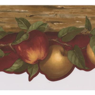 Red Yellow Apples on Vine Red Prepasted Wallpaper Border