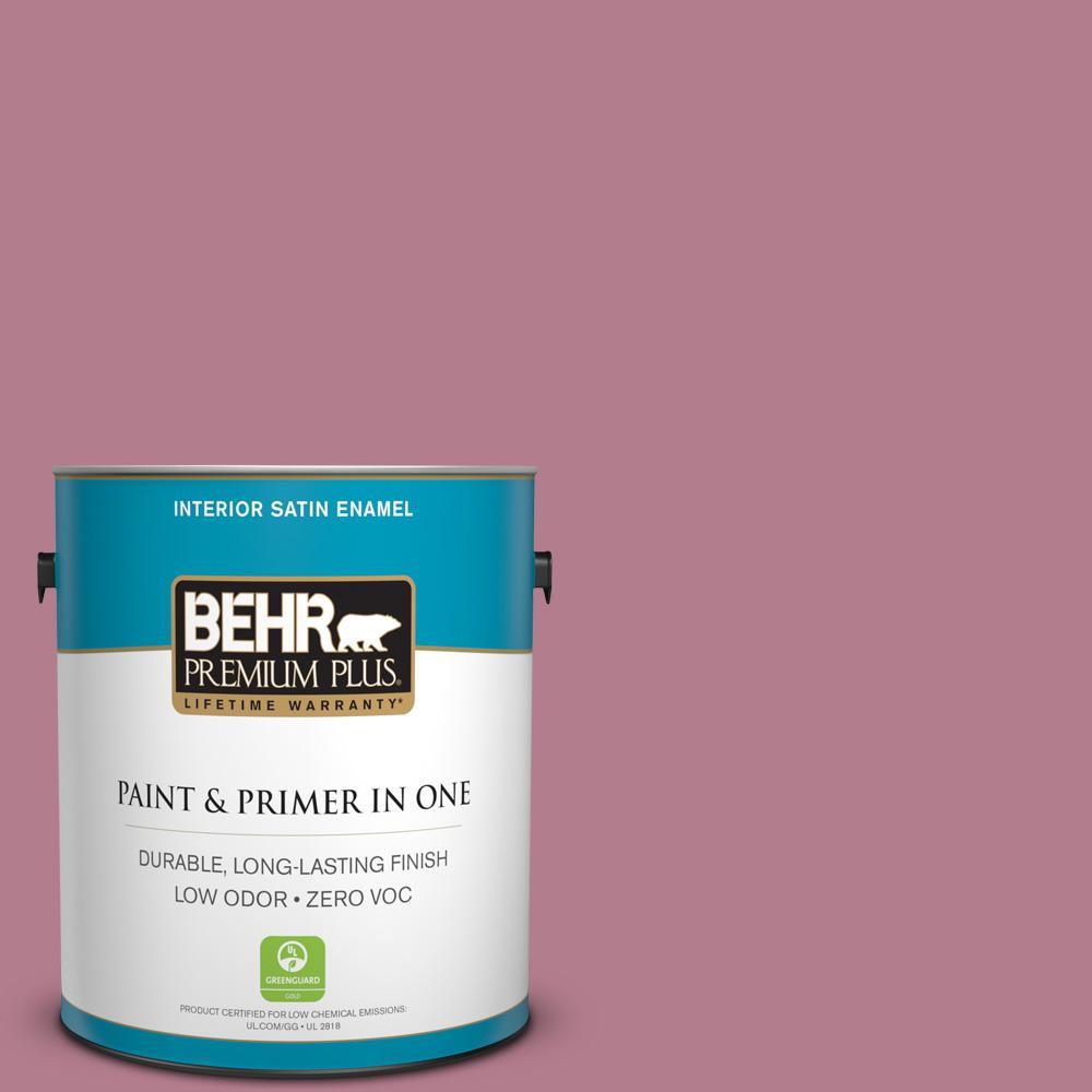 BEHR Premium Plus 1-gal. #100D-4 Degas Pink Zero VOC Satin Enamel Interior Paint