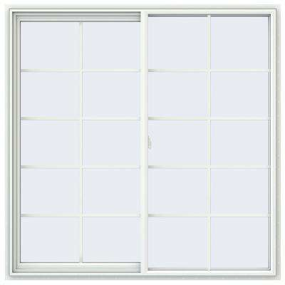 59.5 in. x 59.5 in. V-2500 Series White Vinyl Left-Handed Sliding Window with Colonial Grids/Grilles