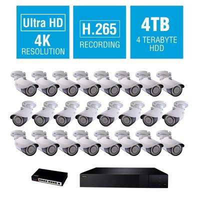 32-Channel 4K 4TB NVR Surveillance System with 4K 24-Bullet Cameras and 8-Way POE Switch