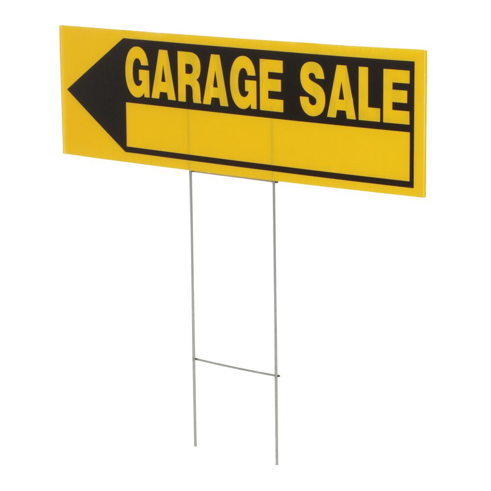 Everbilt 6 In X 24 In Corrugated Plastic Garage Sale Sign 31594