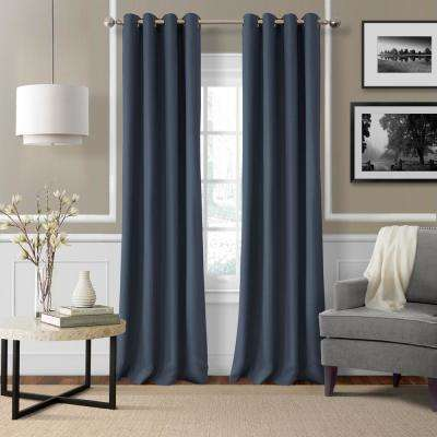 Elrene Essex 50 in. W x 84 in. L Polyester Single Window Curtain Panel indigo