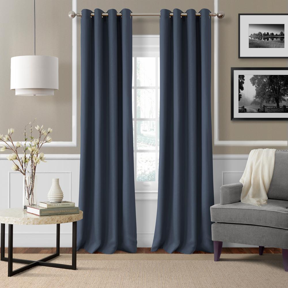 Elrene Essex 50 in. W x 108 in. L Polyester Single Window Curtain Panel indigo