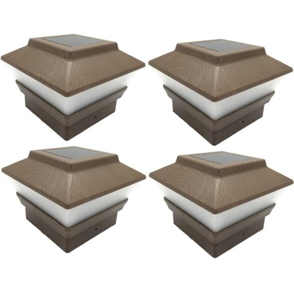Relightable Solar 4 in. x 4 in. Brown Vinyl Outdoor Post Cap Deck Lights (4-Pack)