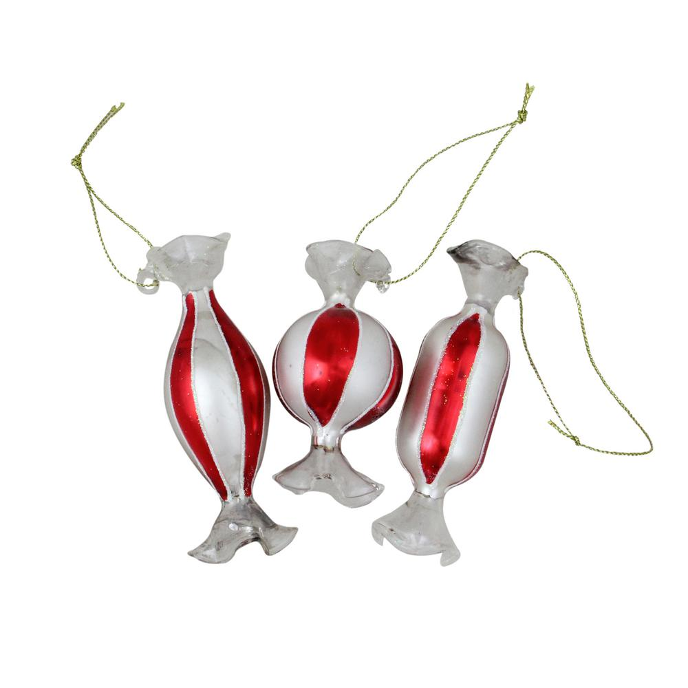 Northlight Striped Red and White Candy Shaped Glass Christmas ...