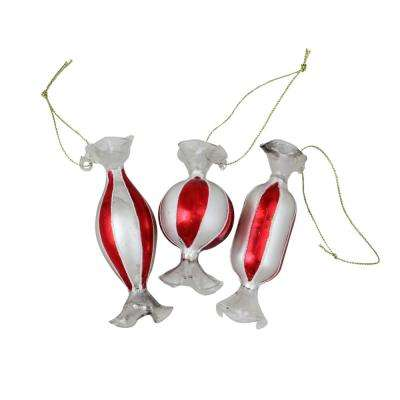 Striped Red and White Candy Shaped Glass Christmas Ornament Set (3-Count)