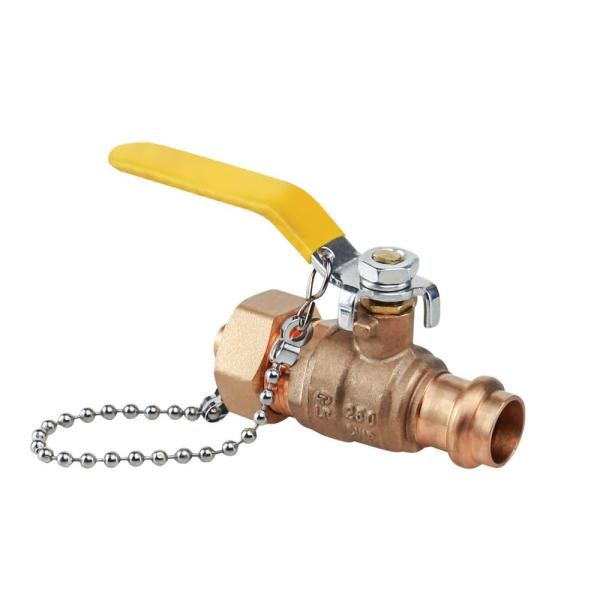 Premium Brass Full Port Hose Ball Valve with Chain and Cap, 3/4 in. Press x 3/4 in. Hose