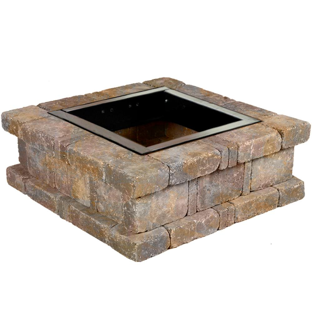 Pavestone RumbleStone 38.5 in. x 14 in. Square Concrete Fire Pit Kit No. 1 in Sierra Blend