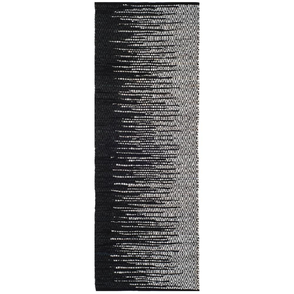 Vintage Leather Light Gray/Black 2 ft. x 6 ft. Runner Rug