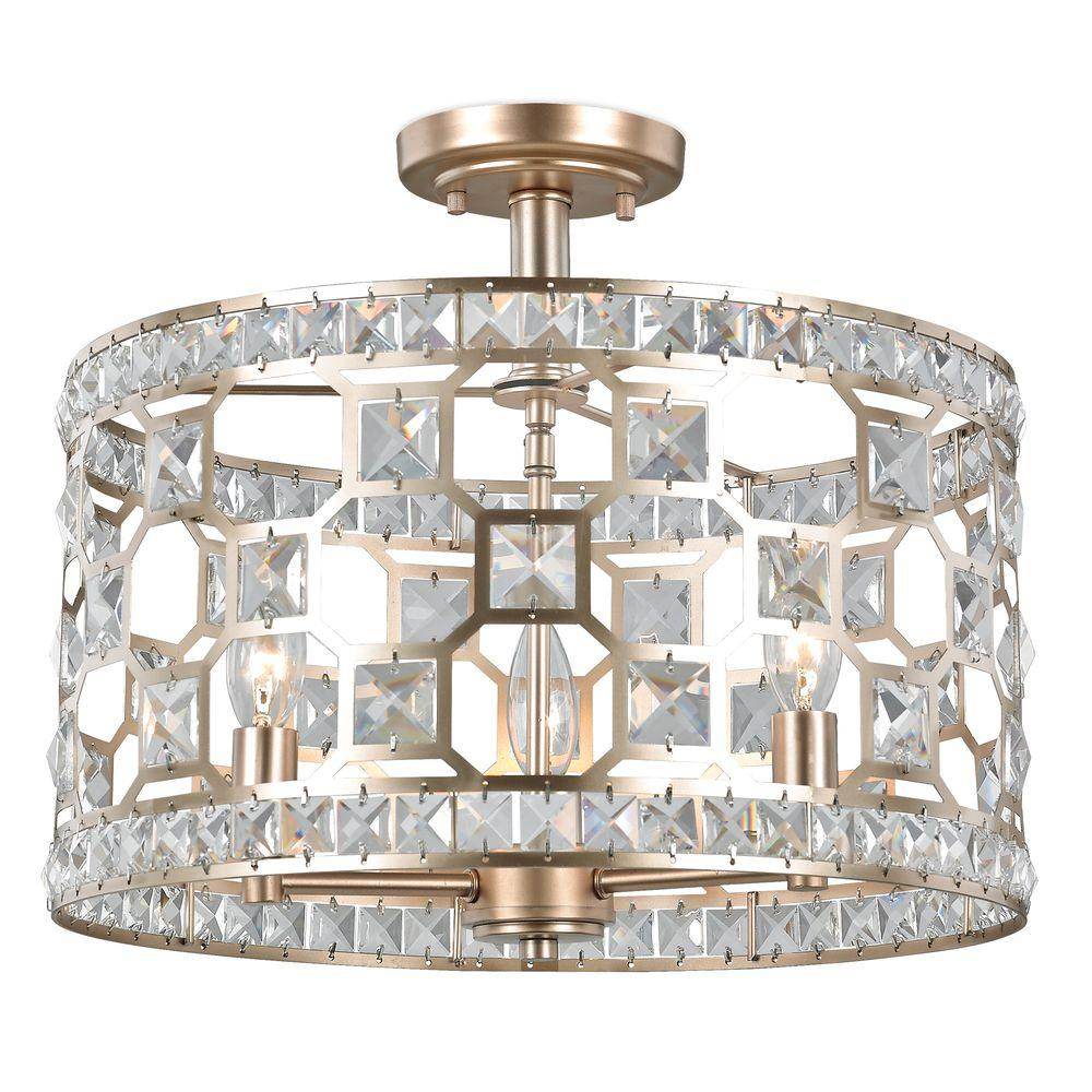 Crystal Semi Flush Mount Light Fixture Light Fixtures