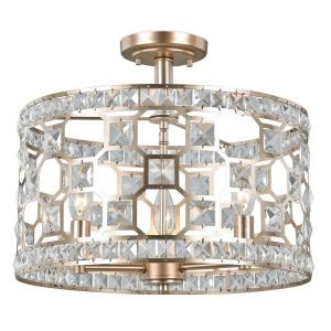 Decor Living Anastasia 3 Light Gold Painted Crystal Semi Flush Mount 24602fm 024 The Home Depot