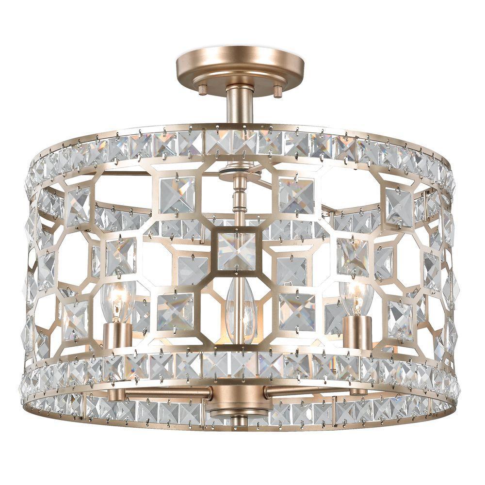 Anastasia 3-Light Gold Painted Crystal Semi Flush Mount