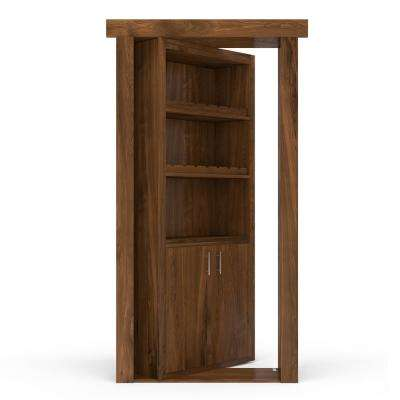 36 in. x 80 in. Flush Mount Assembled Hickory Medium Stained Left-Hand Inswing Wine Rack Door