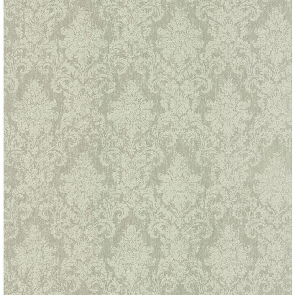Madison Florals Green Damask Wallpaper Sample