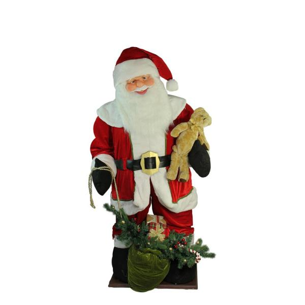 Northlight 6 Ft Inflatable Led Lighted Musical Santa Claus Christmas Figure With Gift Bag 32265414 The Home Depot