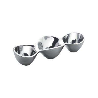 Classic 6 oz. each Alloy Triple Condiment Server